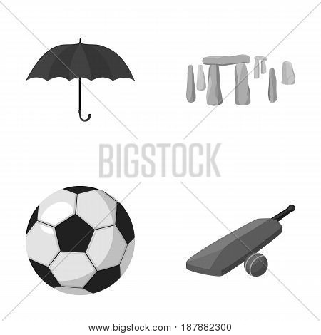 Umbrella, stone, ball, cricket .England country set collection icons in monochrome style vector symbol stock illustration .