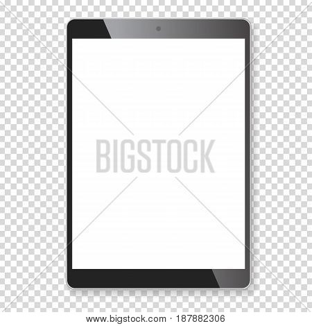 Realistic tablet portable computer. Contemporary black gadget with shadow, wide format. Graphic design element for catalog, web site, as blank mockup, demonstration template. Vector illustration.