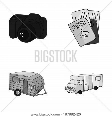 Vacation, photo, camera, passport .Family holiday set collection icons in monochrome style vector symbol stock illustration .