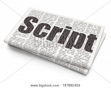 Software concept: Pixelated black text Script on Newspaper background, 3D rendering
