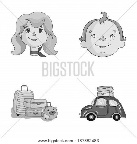 Camping, woman, boy, bag .Family holiday set collection icons in monochrome style vector symbol stock illustration .