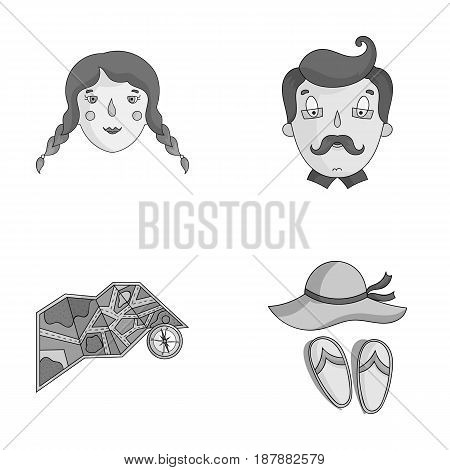 Travel, vacation, camping, map .Family holiday set collection icons in monochrome style vector symbol stock illustration .