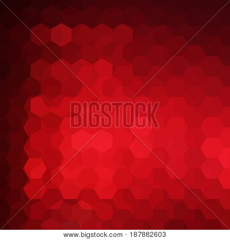 Geometric pattern, vector background with hexagons in red tone. Illustration pattern