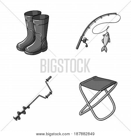 Fishing, fish, catch, fishing rod .Fishing set collection icons in monochrome style vector symbol stock illustration .