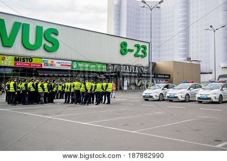 Kiev Ukraine - May 12 2017: Police officers stand to attention at a briefing on safety measures at the Eurovision 2017