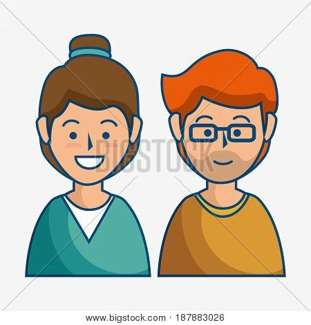 A smiling brunette woman next to a ginger man with glasses over white background. Vector illustration.