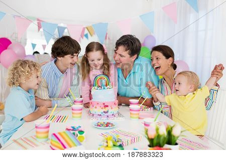 Kids Birthday Party. Family Celebration With Cake.