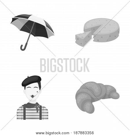 Umbrella, traditional, cheese, mime .France country set collection icons in monochrome style vector symbol stock illustration .