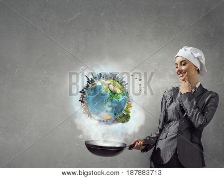 Her recipe of success . Mixed media