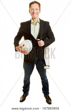 Man as an architect or civil engineer smiling and standing on a white background