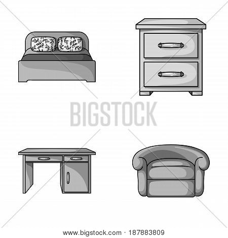 Interior, design, bed, bedroom .Furniture and home interiorset collection icons in monochrome style vector symbol stock illustration .