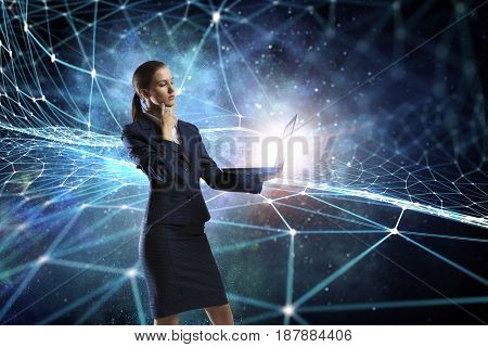 Woman with laptop in hands . Mixed media