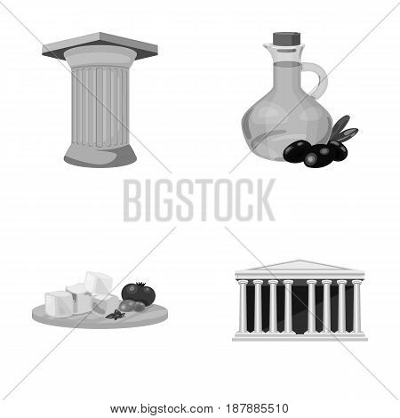 Greece, country, tradition, landmark .Greece set collection icons in monochrome style vector symbol stock illustration .
