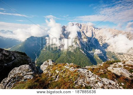 Excellent condition of rocky massif. Gorgeous day and picturesque scene. Location National Park Tre Cime di Lavaredo, Misurina, Dolomiti alp, Tyrol, Italy, Europe. Explore the world's beauty.