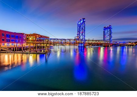 Portsmouth, New Hampshire, USA at Memorial Bridge on the Piscataqua River.