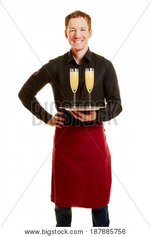 Man as a waiter holding a tray and two glasses