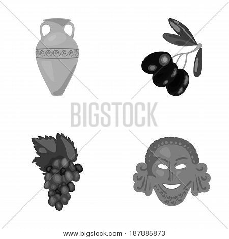 Greece, olive, branch, vase .Greece set collection icons in monochrome style vector symbol stock illustration .