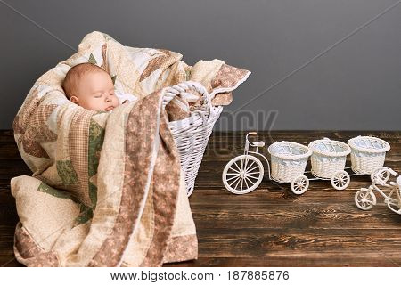 Sleeping baby and blanket. Tricycle flower basket on wood.