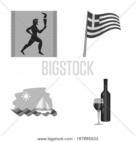 Greece, running, wine, flag .Greece set collection icons in monochrome style vector symbol stock illustration .