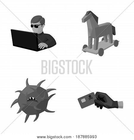 Hacker, hacking, system, internet .Hackers and hacking set collection icons in monochrome style vector symbol stock illustration .