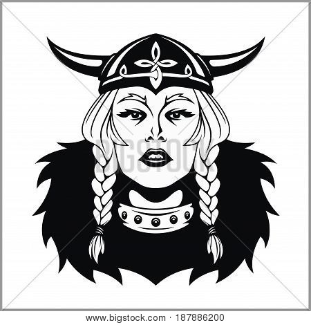 Viking woman warrior. Vector illustration isolated on white.