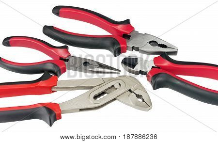 the different Work tools on white background