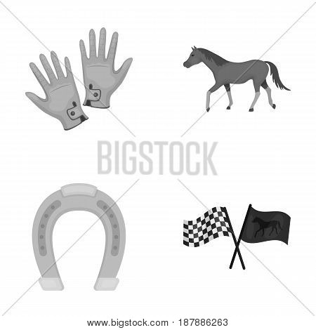 Race, track, horse, animal .Hippodrome and horse set collection icons in monochrome style vector symbol stock illustration .