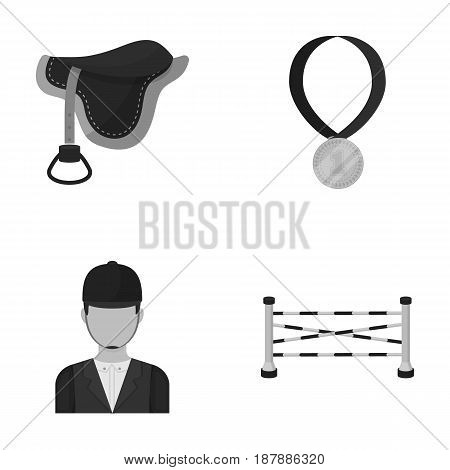 Saddle, medal, champion, winner .Hippodrome and horse set collection icons in monochrome style vector symbol stock illustration .