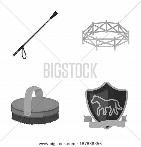 Aviary, whip, emblem, hippodrome .Hippodrome and horse set collection icons in monochrome style vector symbol stock illustration .