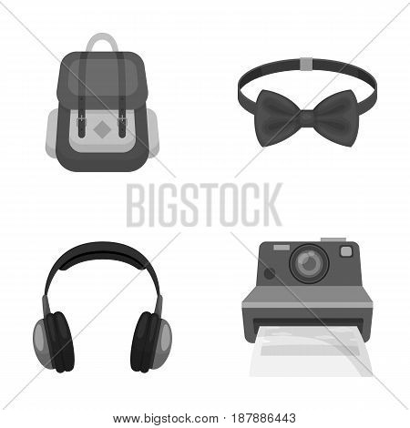 Hipster, fashion, style, subculture .Hipster style set collection icons in monochrome style vector symbol stock illustration .