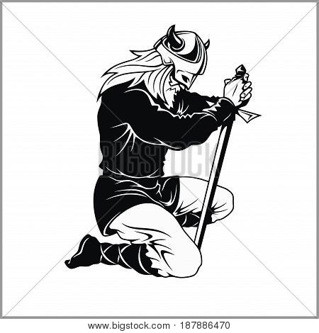 Vector Viking warrior with sword Cartoon Illustration. Barbarian bowed his knee. Isolated on a white background