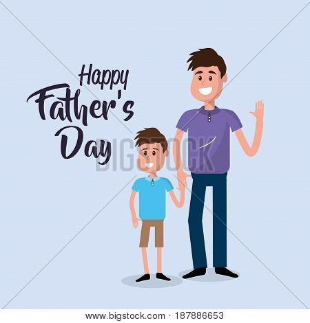 happy father with his son congratulating him, vector illustration