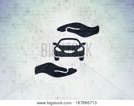 Insurance concept: Painted black Car And Palm icon on Digital Data Paper background