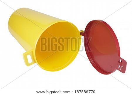 the colorful plastic container over white background