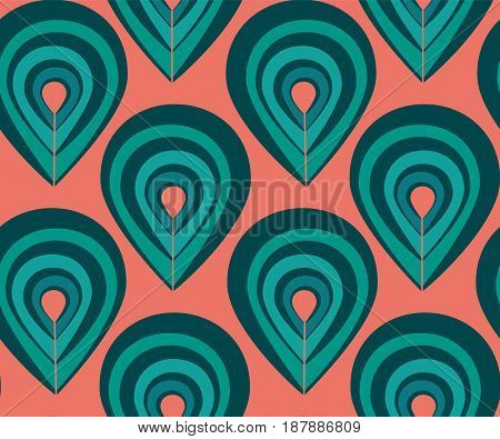 Abstract pattern with peacock feathers elements, pattern with colorful drop elements, blue and pink fashion pattern