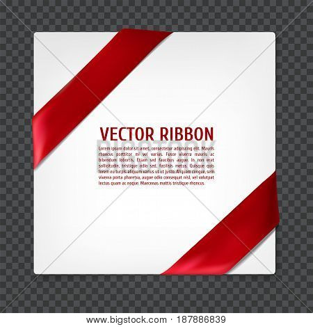 White card with red corner silk ribbon, vector illustration