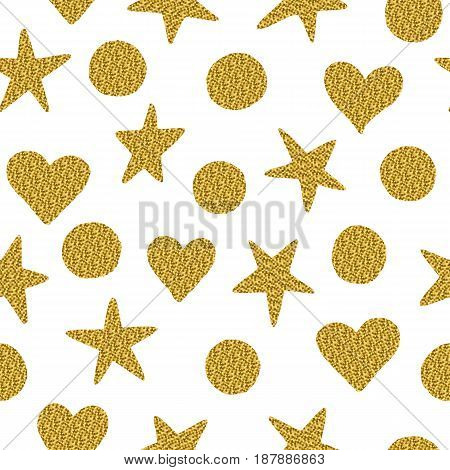 Seamless Pattern. Stars, Circles And Hearts With Golden Glitter