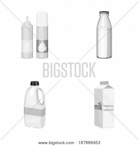 Milk, Calcium, Product, Food .Milk product and sweet set collection icons in monochrome style vector symbol stock illustration .