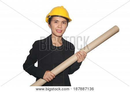 Asian female engineer and hold paper roll in hand isolated on white background and have clipping paths to easy deployment.
