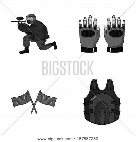 Sport, game, paintball, competition .Paintball set collection icons in monochrome style vector symbol stock illustration .