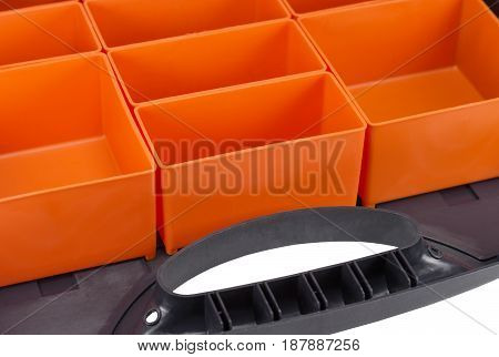 Empty plastic tool organiser isolated on white