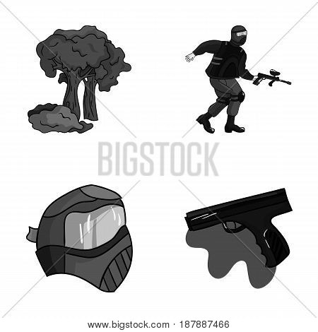 Mask, gun, paint, inventory .Paintball set collection icons in monochrome style vector symbol stock illustration .