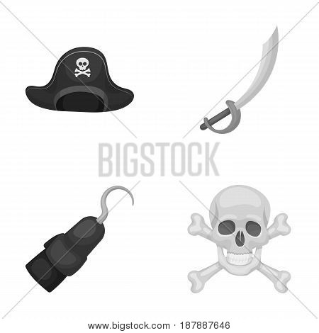 Pirate, bandit, cap, hook .Pirates set collection icons in monochrome style vector symbol stock illustration .