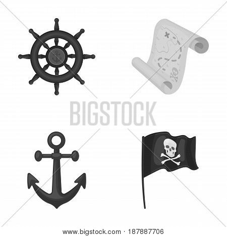 Pirate, bandit, rudder, flag .Pirates set collection icons in monochrome style vector symbol stock illustration .