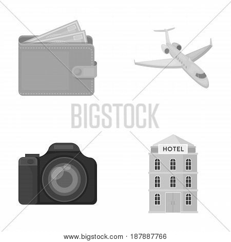 Vacation, travel, wallet, money .Rest and travel set collection icons in monochrome style vector symbol stock illustration .