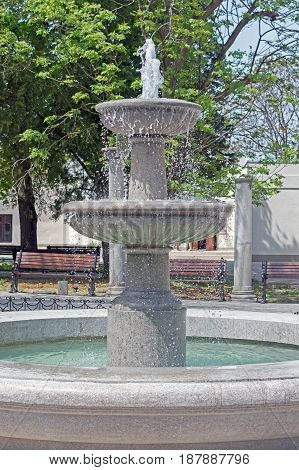 the big Fountain in a city park