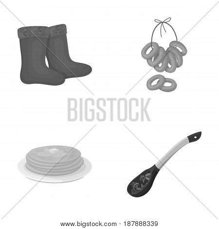 Felt, boots, drying, gingerbread .Russia country set collection icons in monochrome style vector symbol stock illustration .