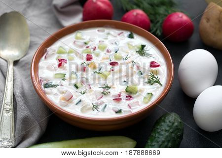 Tasty russian yoghurt cold soup with radish, cucumber, and dill on table, top view.Okroshka