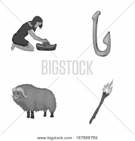 Cattle, catch, hook, fishing .Stone age set collection icons in monochrome style vector symbol stock illustration .