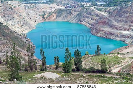 the Open pit mine with a lake